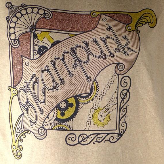 Steampunk T-Shirt, Original art t-shirt, tan t-shirt with black, brown and gold design, steampunk design tshirt, shirt design by Marcel Dion