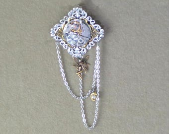 Steampunk brooch, clock works pin with fairy and caged pearl, watch work pin with fairy, steampunk silver-toned brooch with fairy and pearl