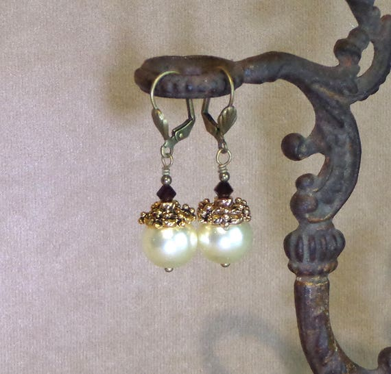 Stocking Stuffer: Holiday earrings, Swarovski pearl earrings with crystal, affordable gift, Yankee swap gift, Steampunk Christmas earring