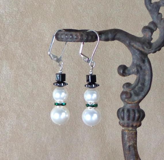 Stocking Stuffer: Holiday earrings, snowmen, Swarovski pearl and crystal gift earrings, affordable gift, Yankee swap gift, Christmas earring