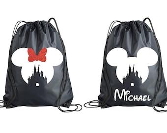 d7663b9f08 Minnie Mickey Castle Drawstring Bag