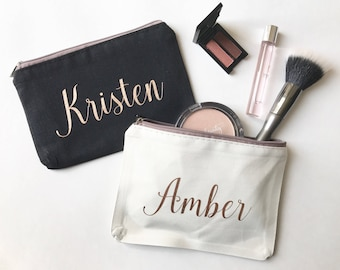 Personalized Makeup Bag, Bridesmaids Gift, Custom Cosmetic Bag, Rose Gold, Gifts for Her, Bridal Party Presents, Customizable