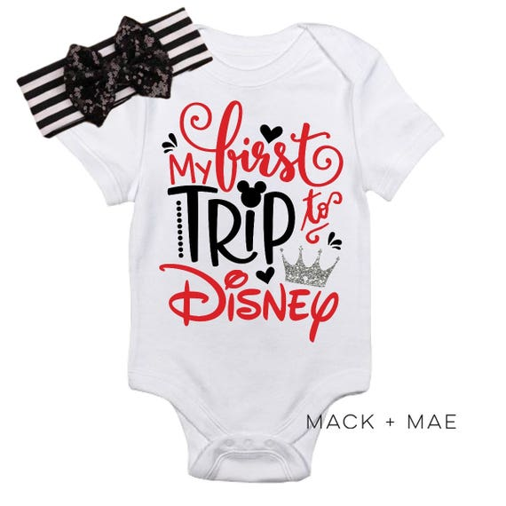 First Trip to Disney Vacation Toddler Tee Minnie Mouse Leopard Baby Bodysuit