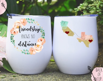 Friendship Knows No Distance Tumbler Gift Personalized Present For Best Friend Moving Long Friends Birthday Besties