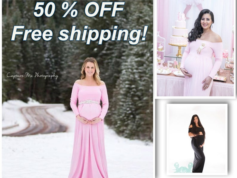 Christmas Sale!Ready to ship maternity dressesoff the shoulderbaby shower dressmaternity gownplus sizelong sleeves