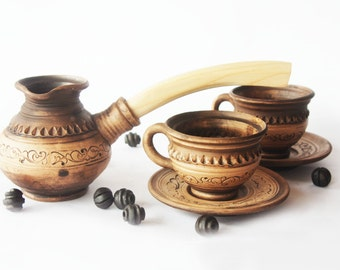 Ceramic turkish coffee Set Coffee maker Hand made coffee pot Christmas gift Tasty coffee maker Cup with saucer Ceramic coffee pot Brown set