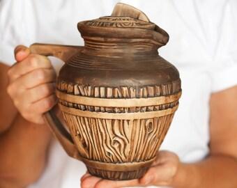 Woodland pitcher Ceramic pitcher Wine pitcher Pottery pitcher Bark pitcher Rustic pitcher Water pitcher Farmhouse decor Handmade jug
