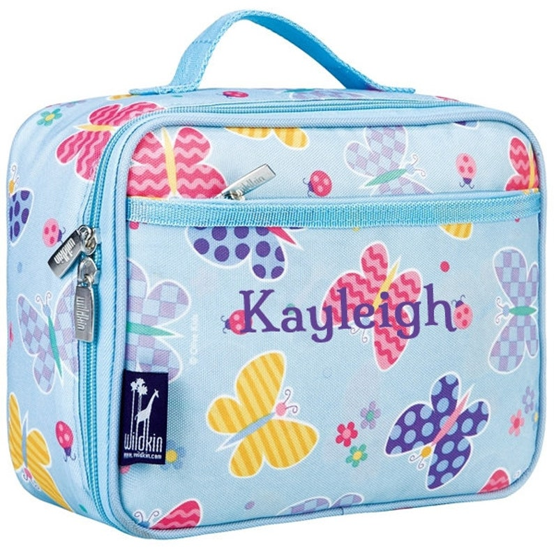 PERSONALISED BUTTERFLIES IN BLUE KIDS SCHOOL INSULATED LUNCHBOX LUNCHBAG PRESENT