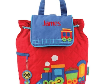 Personalised Train Backpack | Boy's Train Backpack | Children's Quilted Cotton Backpack - Train | Nursery Backack for Boys | Train Backpack