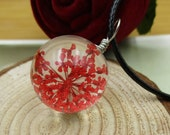 Red Lace Flowers Glass Pendant,Glass Ball Pendant Necklace,Ball Diameter 20mm-BT030