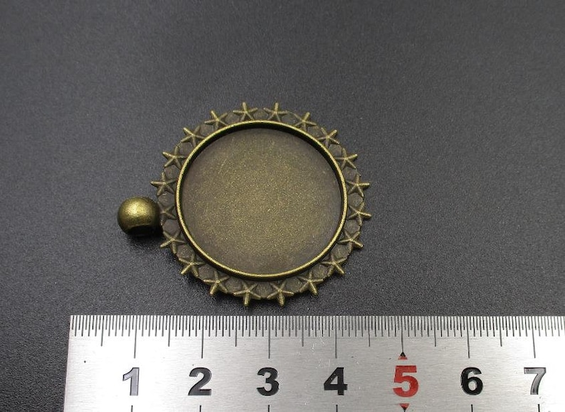 25mm 5pcs 25mm Cameo Cabochon Base Setting Pendants,1inch Round Blank Findings Trays,Antique Bronze Tone-b2099