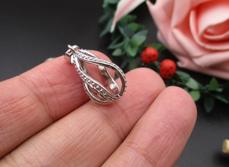 2Pcs 10\u00d722mm Teardrop Cage Pendant,Cage Charm for 8mm Pearls or Gemstones-p1479