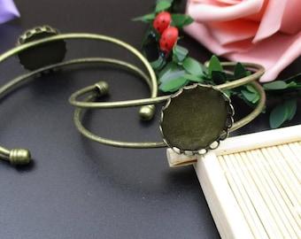 20mm Bangle Blank,Bronze Cabochon Bracelet Setting-B2213