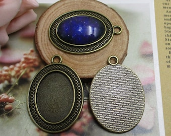 10pcs 18x25mm Oval Cameo Cabochon Base Setting Pendants,Antique Bronze Blank Findings Trays -b2050