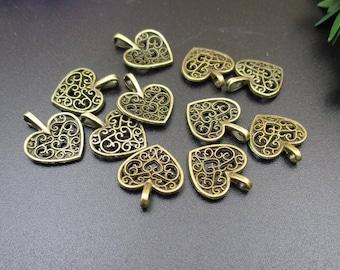 20PCS,15x18mm,Bronze Heart Charm,Little Love Pendant,Pierced Heart Charm-p1035-A