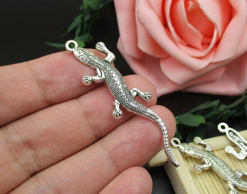 5PCS 56x15mm Silver Gecko Charms-p1813-B