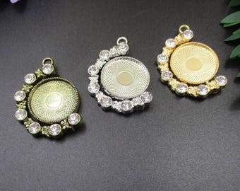 2pcs 20mm Round Double Sided Cameo Cabochon Base Setting Pendants Surrounded by Diamonds,Free Rotation-b2173