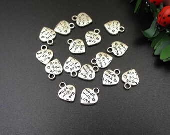 20PCS,12x10mm,Silver Heart Charms,Made with Love,Jewelry Making-p1031-B