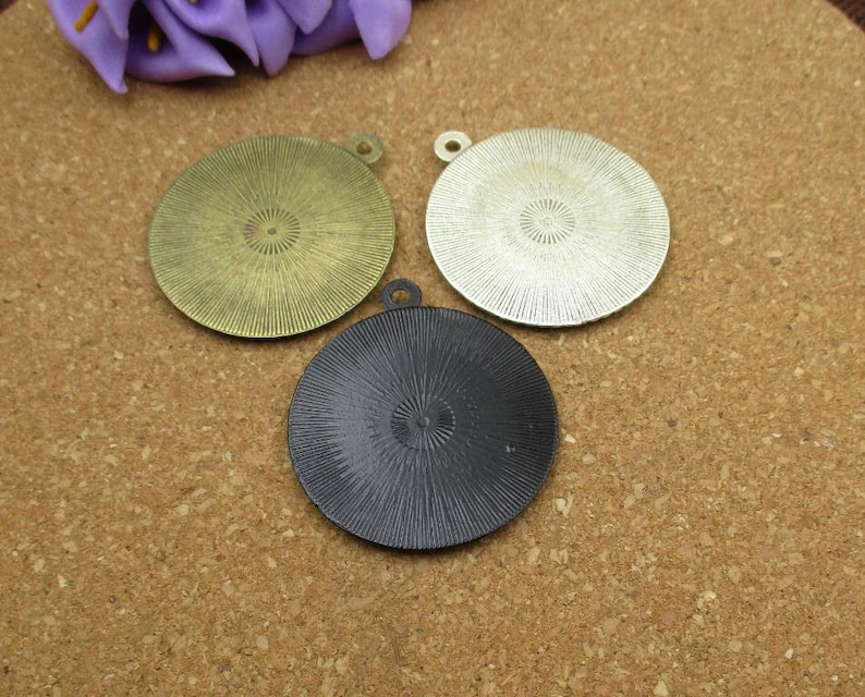 5pcs 30mm Round Cameo Cabochon Base Setting Pendants,Round Blank Findings Trays,3 Colors-b2170