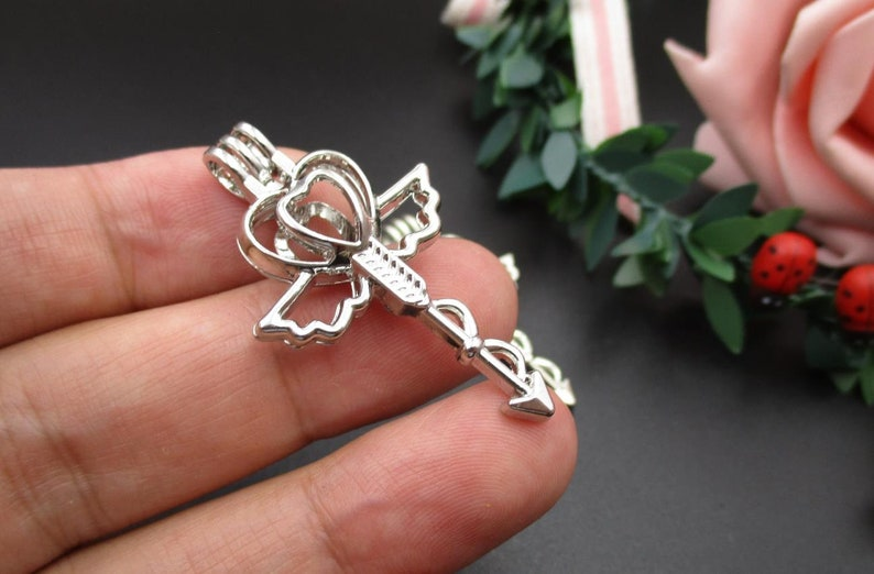 2Pcs 44\u00d723mm Silver Cross Cage Pendants,for 8mm Pearls or Gemstones-p2306
