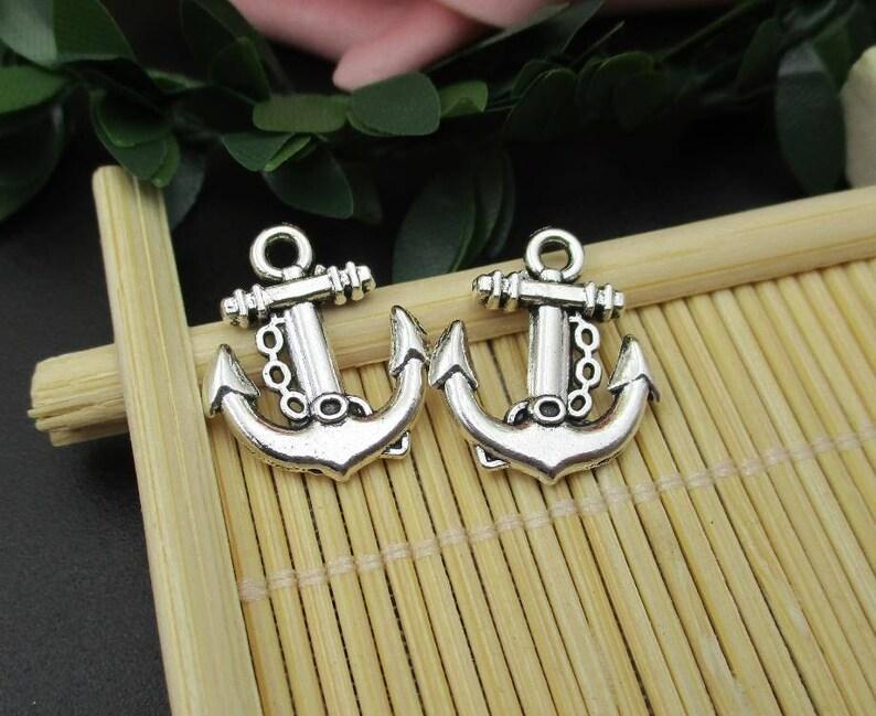 10Pcs 15x18mm Silver Anchor Charms-p1727
