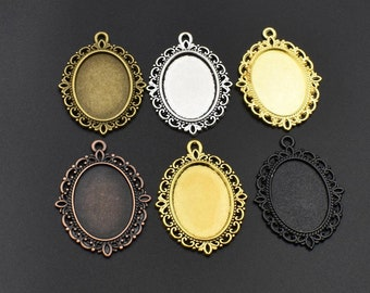 10Pcs 18x25mm Pendant Trays,Oval Cameo Cabochon Base Setting,6 Colors Available-b2137
