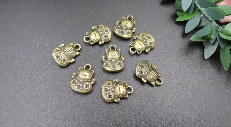 10PCS 15x11mm Bronze Cat Charms-p2386-A