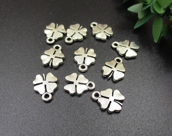 20PCS 11x10mm Four Leaf Clover Charms Antique Silver Tone 2 Sided-p1663