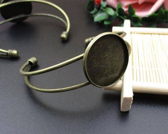 25mm Bangle Blank,Bronze Cabochon Bracelet Setting-B2212