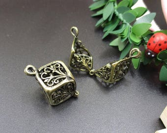 2Pcs Bronze Cube Cage Charms,Metal Frame Locket(Can be opened)-p1094-A