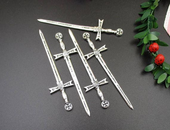 5Pcs 90x24mm Sword Charms Antique Silver Tone 2 Sided Large Size Incredible Detail p1513