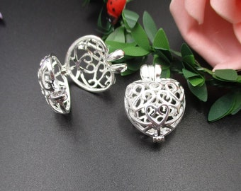 2Pcs 13×18×25mm Bright Silver Heart Cage Charms for Pearls or Gemstones-p1674-BS