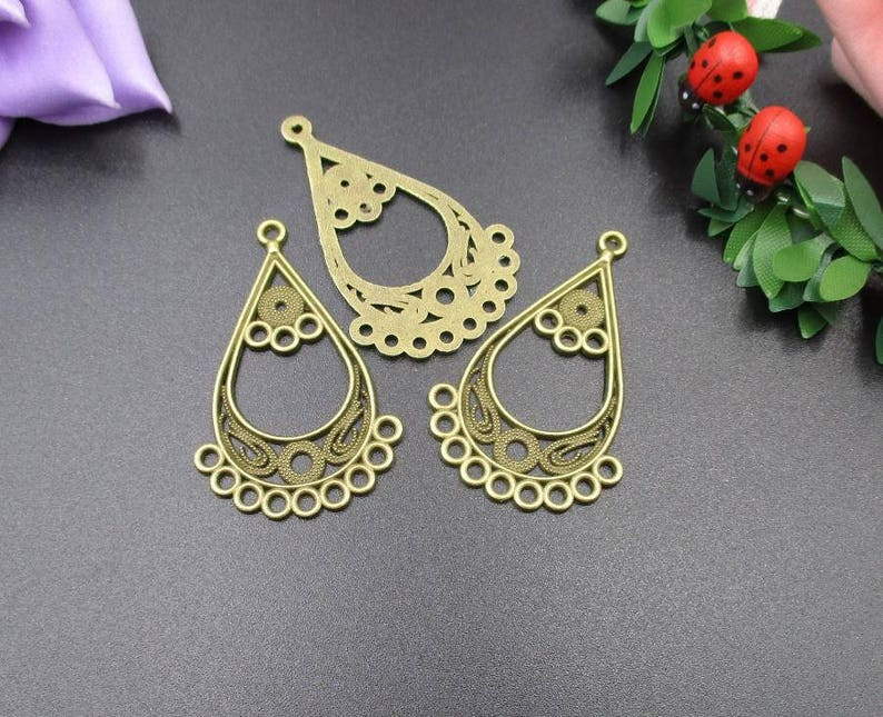 10Pcs 43x25mm Bronze Necklace Connecting Material,Vintage Style Connectors,Multiple Loops-p1953