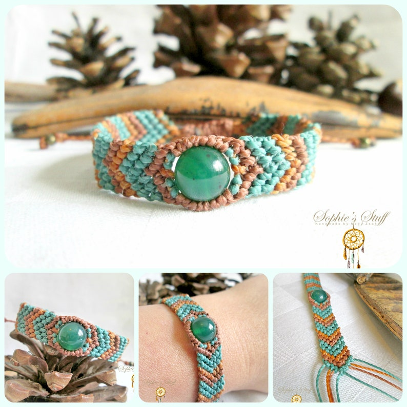 Waterproof adjustable jewelry. Unisex macrame bracelet with green Agate bead