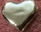 Hand Poured Silver Heart Shaped Collectible Art Bar .999 Investment Grade One Troy Ounce Silver Bullion