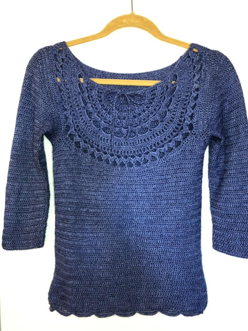 XS Mandala Lace 34 Sleeve Sweater in Cornflower Blue