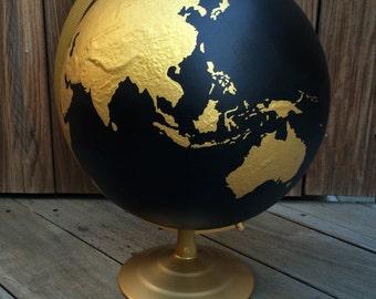Black & Gold Painted Globe// Hand Painted// World Globe