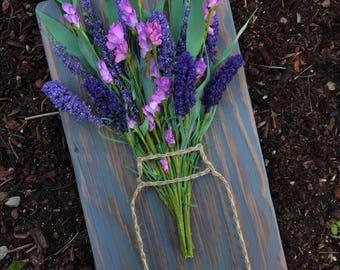 Lavender Wildflower Bunch in Mason Jar// String Art// Wooden Sign