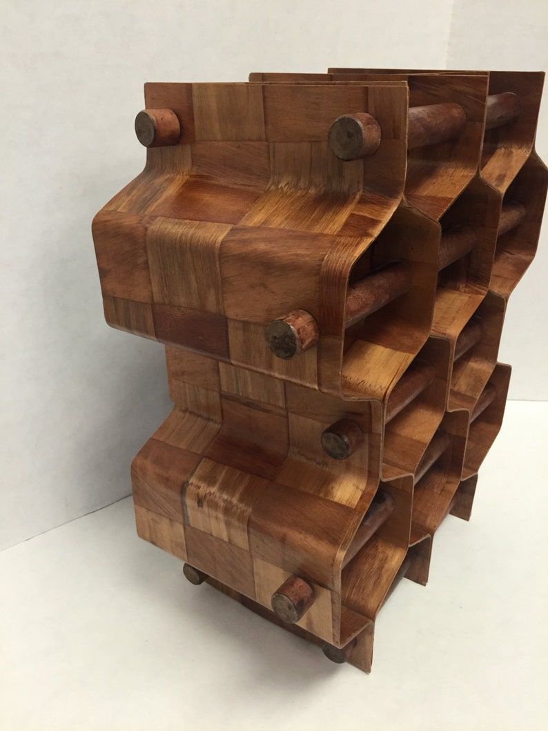 Mid Century Modern Bentwood Wine Rack Honeycomb Vintage ...