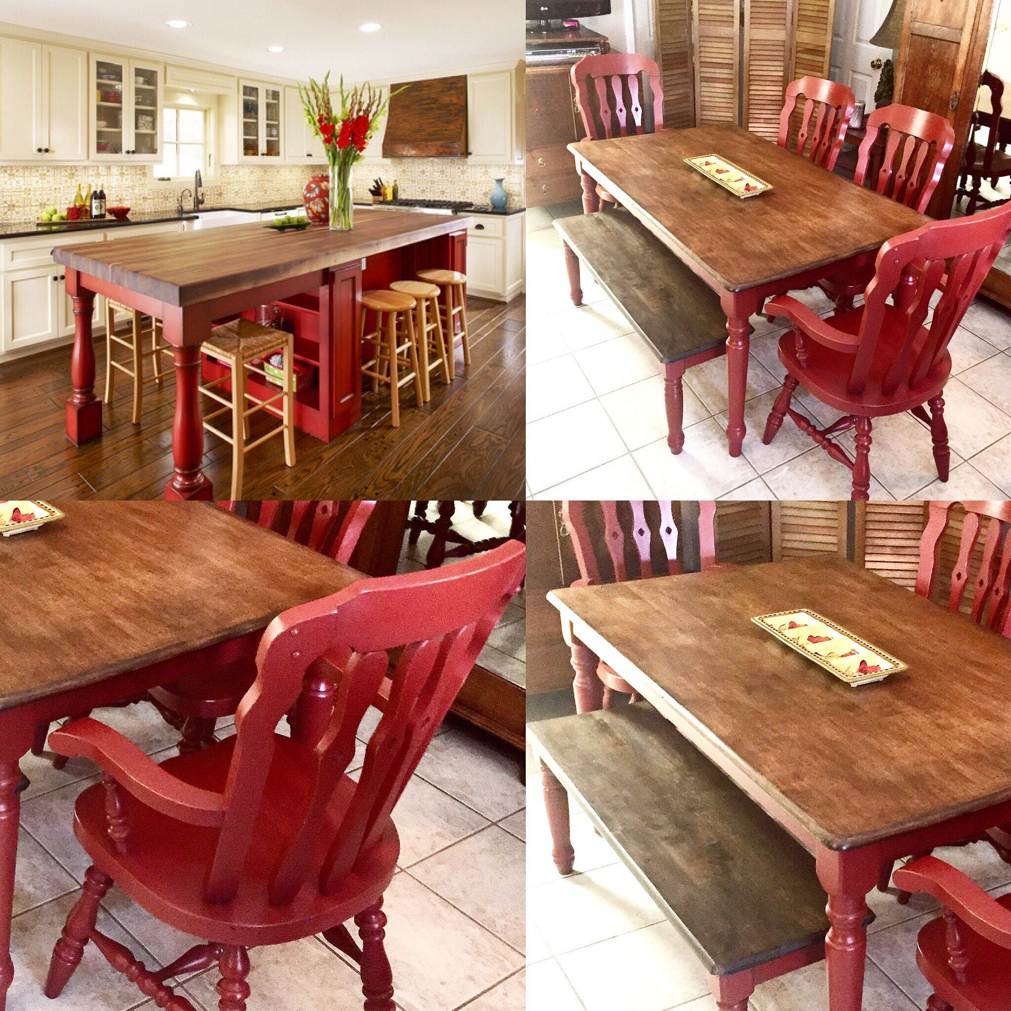 Farm Table Farmhouse Dining Chairs Painted Red Rustic Distressed Maple  Butcher Block Wood Kitchen Cottage Bench SHIPPING NOT FREE