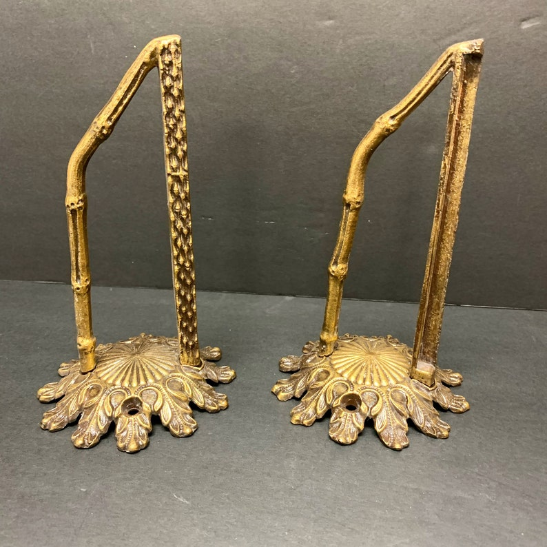 Pair Shelf Wall Brackets Gold Metal Faux Bamboo Hollywood image 0