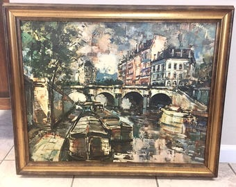 Mid Century Print French Oil Painting on Canvas Warner Paris Seine Hollywood  Regency