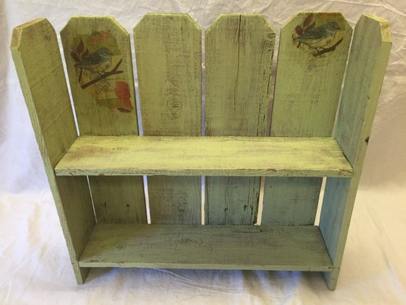 Painted Bookshelf Table Wall Shelf Fence Boards Lime Green