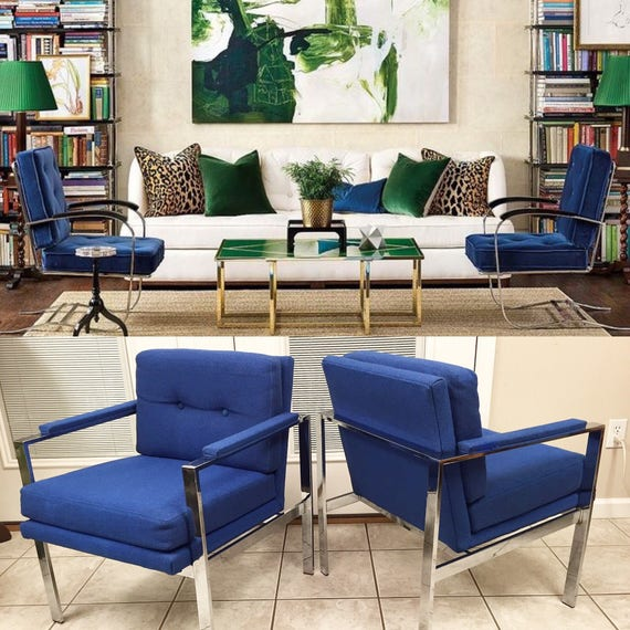 Pleasant Pair Of Mid Century Modern Chrome Milo Baughman Style Armchairs Lounge Club Flat Bar Blue Upholstery Button Tucked Chairs Chair Dailytribune Chair Design For Home Dailytribuneorg
