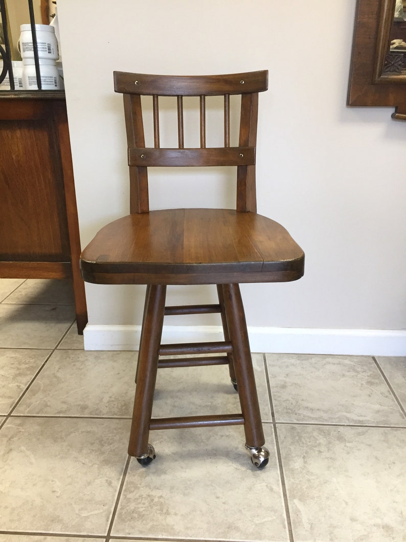 Swivel Rolling Chair Wood Casters Vintage Stool Industrial Farmhouse