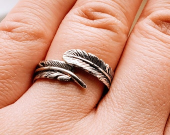 925 Sterling Silver Feather Wrap Ring