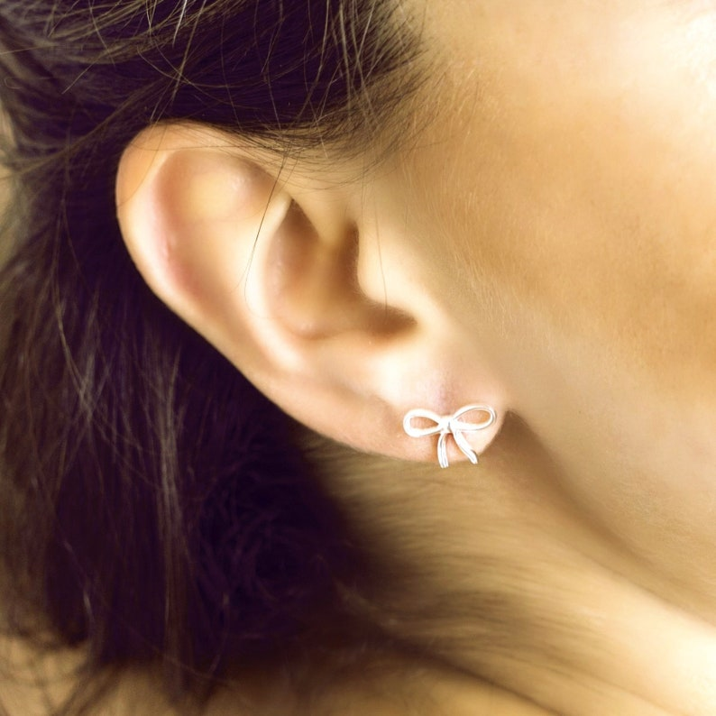 b93d2c788 Bow Stud Earrings 925 Sterling Silver Gift for Her Bow Studs   Etsy