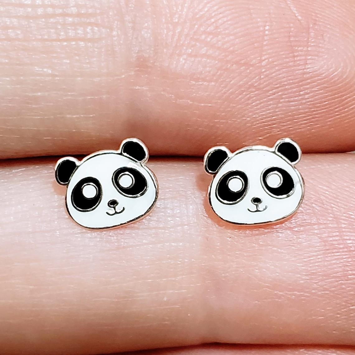 22. Silver Panda Ear Studs Earrings 925 Sterling Silver