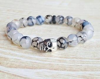 Mens Jewelry |FREE US SHIPPING| Mens Bracelets Skull bracelet Mens Bracelet Bracelets for Men Bracelet black bead bracelet