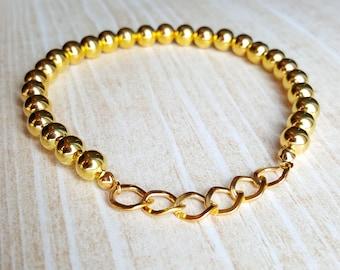 Gold Beaded Bracelets for Women |FREE US SHIPPING| Gold Boho Bracelets Chain Bracelet for Women Boho Jewelry
